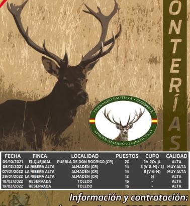 Calendario de Monterías 21/22